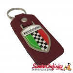 Key ring chain - Lambretta Italian Flag Check (Red, Shield)