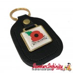 "Key ring chain - Poppy Remembrance Day ""Lest We Forget"" (Black)"