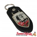 """Key ring chain - Poppy Soldier Remembrance Day """"Lest We Forget"""" (Black, Shield)"""