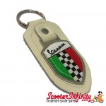 Key ring chain - Vespa Italian Flag Check (Cream)