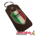 Key ring chain - Vespa GTS 125 Italian Flag (Brown, Shield)