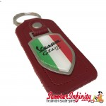Key ring chain - Vespa GTS 125 Italian Flag (Red, Shield)