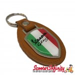 Key ring chain - Vespa GTS 250 Italian Flag (Beige, Shield)