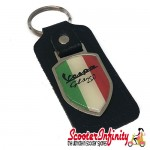 Key ring chain - Vespa GTS 250 Italian Flag (Black, Shield)