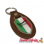 Key ring chain - Vespa GTS 250 Italian Flag (Brown, Shield)