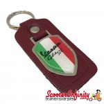 Key ring chain - Vespa GTS 300 Italian Flag (Red, Shield)