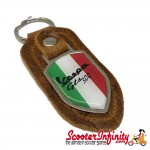 Key ring chain - Vespa GTS 300 Italian Flag (Retro Leather, Shield)