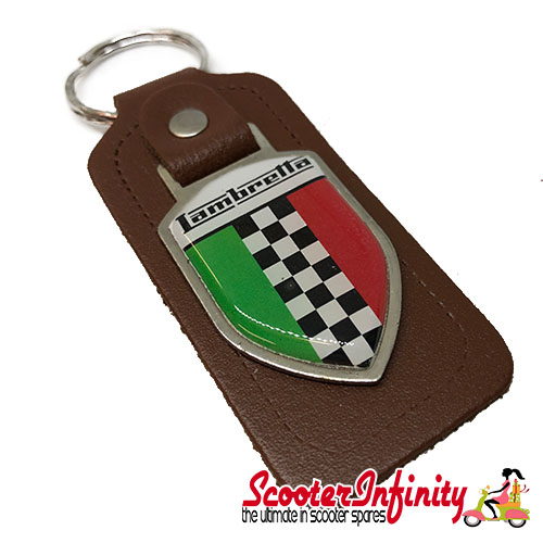 Key ring chain - Lambretta Italian Flag Check (Brown, Shield)