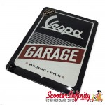 Metal Sign FORME Vespa Garage  (150x200mm, blue/white/red)