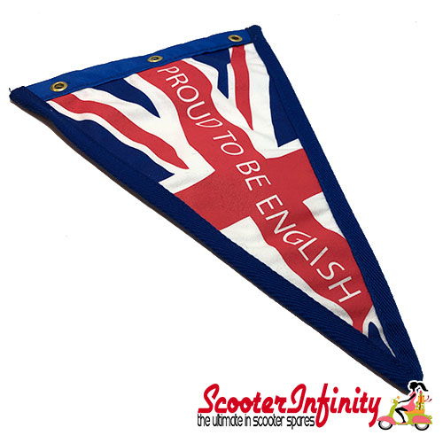 """Flag Penant Union Jack """"Proud to English"""" (UJ, Blue Trim) (280x190mm) (With Eye Holes, for Whip Aerial)"""