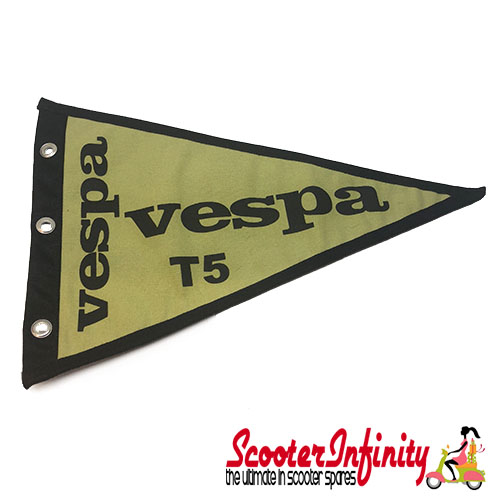 Flag Penant Vespa T5 (Light Green, Black Trim) (260x190mm) (With Eye Holes, for Whip Aerial)