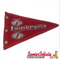 Flag Penant Lambretta Innocenti 2 (Red, Red Trim) (240x170mm) (With Eye Holes, for Whip Aerial)