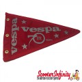 Flag Penant Vespa 70th Anniversary 1946 - 2016 (Red, Red Trim) (260x190mm) (With Eye Holes, for Whip Aerial)