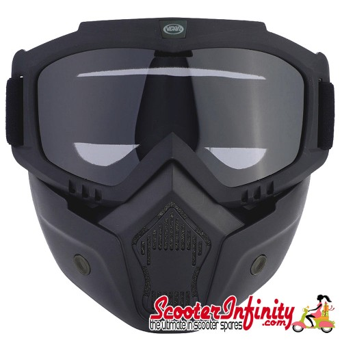 Helmet Face Mask & Goggles (Supplied with clear and smoked lens)