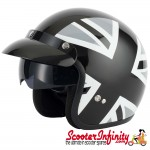 Helmet / MOD Vcan V537 Open Face - (Union Jack - Black/White - With Popdown Sunvisor)