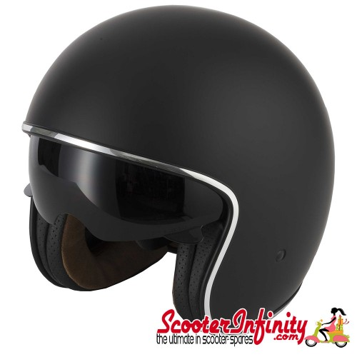 Helmet / MOD Vcan V537 Open Face - (Classic Matt Black - With Popdown Sunvisor)