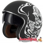 "Helmet / MOD Vcan V537 Open Face - (Classic BTR ""Born To Ride"" - With Popdown Sunvisor)"
