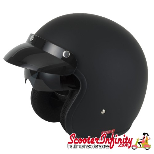Helmet / MOD Vcan V537 Open Face - (Matt Black - With Popdown Sunvisor)