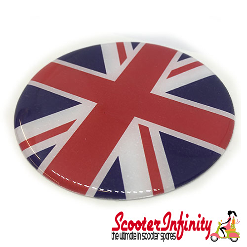 Badge Sticker Domed - Union Jack (75mm, 75mm)