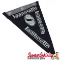 Flag Penant Lambretta Innocenti (Black, Black Silver Trim) (240x170mm) (With Eye Holes, for Whip Aerial)