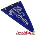 Flag Penant Lambretta Innocenti 70th Anniversary (Blue, Blue Trim) (240x170mm) (With Eye Holes, for Whip Aerial)