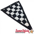 Flag Penant Black White Chequered Check (Black Trim) (300x180mm) (With Eye Holes, for Whip Aerial)