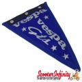 Flag Penant Vespa GTS (Blue, Blue Trim) (240x170mm) (With Eye Holes, for Whip Aerial)