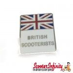 Pin Badge - British Scooterists Union Jack (White)