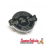Pin Badge - Northern Soul Keep the Faith Script (Black)