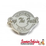 Pin Badge - Northern Soul Keep the Faith Script (White)