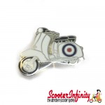 Pin Badge - Scooter White Mod Target (Vespa / Lambretta)