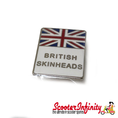 Pin Badge - British Skinheads Union Jack (White)
