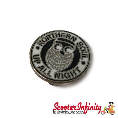 Pin Badge - Northern Soul Owl (White)