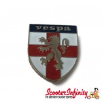 Pin Badge - England Lion Flag Shield with Vespa Emblem