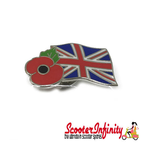 Pin Badge - Union Jack with Poppy Emblem (Remembrance Day)