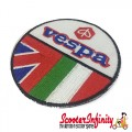Patch Clothing Sew On - Vespa Emblem with Twin Flag (75mm, 75mm) (Union Jack, Italian Flag)